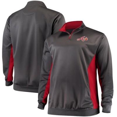 アトランタ・ブレーブス Majestic Fleece Pullover Quarter-Zip ジャケット - Charcoal/Red