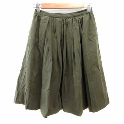 【中古】アーバンリサーチ URBAN RESEARCH ギャザースカート ひざ丈 F カーキ 緑 グリーン /AU レディース