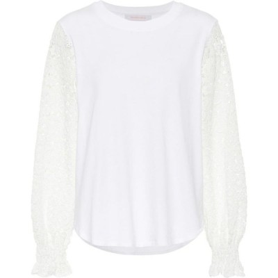 クロエ See By Chloe レディース トップス Lace-trimmed cotton-jersey top White Powder