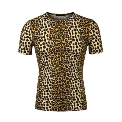 uxcell Allegra K Tシャツ 半袖 ラウンドネック 丸首 ヒョウ柄 カジュアル メンズ 夏 ブラウンヒョウ柄 34