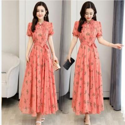 ワンピース 花柄 シフォンドレス 花柄ワンピース ロングドレス マキシワンピ レディースワンピース 3色ドレス ワンピ 半袖 大きいサイズ
