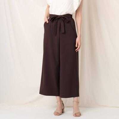 クチュール ブローチ Couture brooch リネンライクラップ風クロップドパンツ (ブラウン)