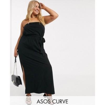 エイソス ASOS Curve レディース ワンピース マキシ丈 ワンピース・ドレス ASOS DESIGN Curve bandeau maxi dress with belt in black ブラック