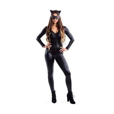 Women's Faux Black Leather Cat Bodysuit - Sexy Women's Catsuit Halloween Costume: X-Small[並行輸入品]