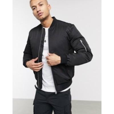 エイソス メンズ ジャケット・ブルゾン アウター ASOS DESIGN quilted bomber jacket with MA1 pocket in black Black
