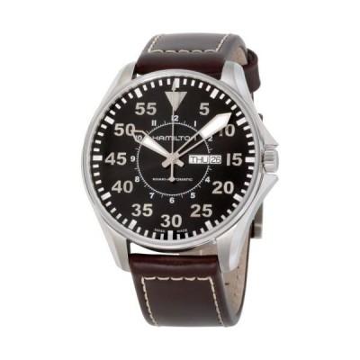 腕時計 ハミルトン Hamilton Khaki Pilot Black Dial Leather Strap Men's Watch H64715535