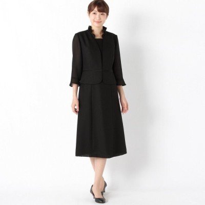 フォーマル レディース 喪服 礼服 ブラックフォーマル スーツ フリルカラーブラックフォーマルワンピース 「ブラック」