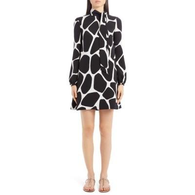 ヴァレンティノ ワンピース トップス レディース Giraffe Print Long Sleeve Silk Minidress Avorio/ Nero