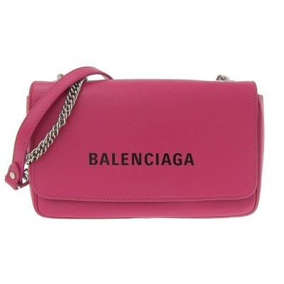 B楽市本店 本物 美品 Balenciaga バレンシアガ エブリデイ チェーン ショルダーバッグ ピンク 537387