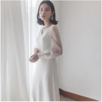2020年新作 送料無料 ウエディングドレス 二次会 花嫁 前撮り ウェディングドレス ロングドレス 結婚式 大人可愛い エレガント 白 シンプ