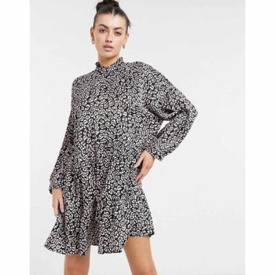 ヴェロモーダ Vero Moda レディース ワンピース ミニ丈 ワンピース・ドレス Mini Smock Dress With High Neck In Black Animal Print マルチカラー