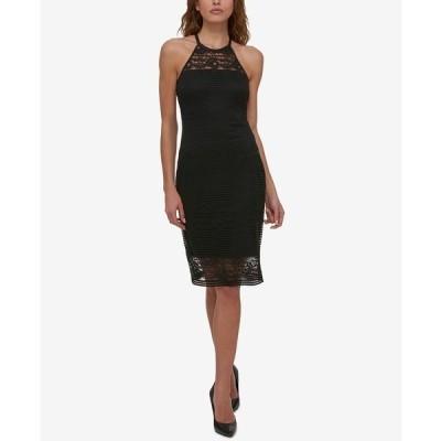 ゲス ワンピース トップス レディース Lace Illusion Halter Dress Black
