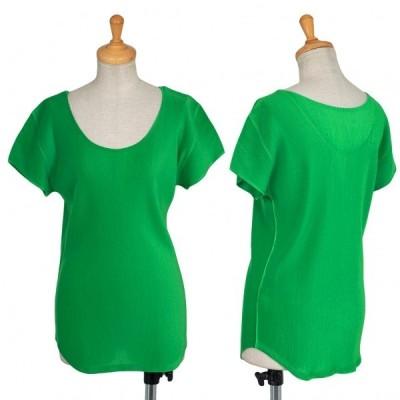 プリーツプリーズPLEATS PLEASE プリーツフレンチスリーブTシャツ 緑3 【レディース】