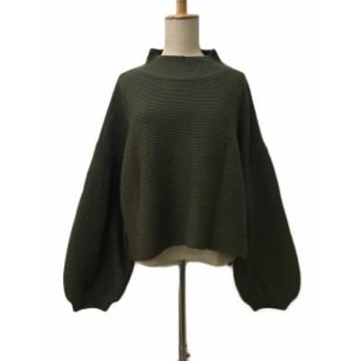 【中古】メルロー MERLOT セーター ニット ハイネック 長袖 緑 グリーン レディース