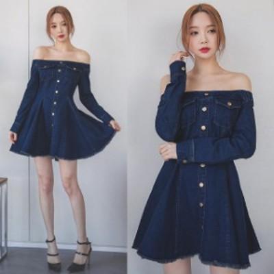 大きいサイズのレディース  韓国ファッション 秋新作 デニム地 オフショルダー フレア ミニ ワンピース 飾りボタン  LL 3L 4L 5L   052DM