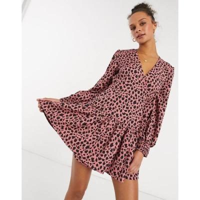 インフルエンス レディース ワンピース トップス Influence wrap dress in spot print Pink/black