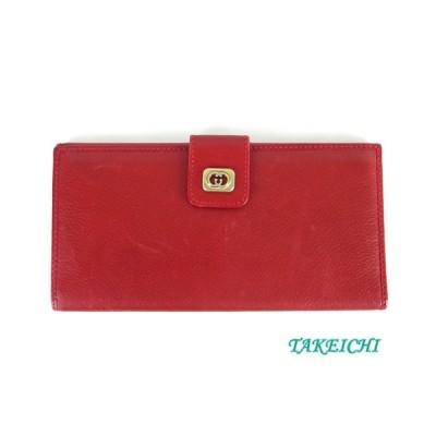 【グッチ】レザー ★二つ折り長財布 赤 レッド【中古】/b10021300