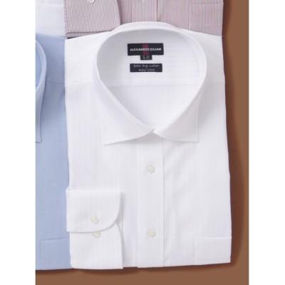 【グランバック】 アレキサンダージュリアン/ALEXANDER JULIAN 綿100%形態安定ワイドカラー長袖ビジネスドレスシャツワイシャツ メンズ ホワイト 2L:44-87 GRAND-BACK