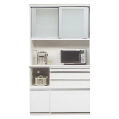 食器棚 引き戸 キッチン収納 キッチンボード レンジ台 日本製 ダイニングボード ライズ 120 レンジ WH (配送員設置)