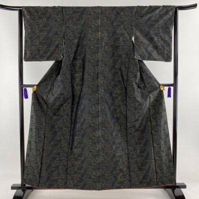 紬 美品 優品 風景 建物 濃紺 袷 身丈158.5cm 裄丈64cm M 正絹 中古 PK50