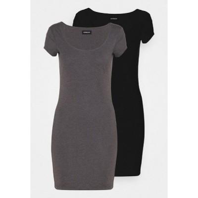エブンアンドオッド ワンピース レディース トップス 2 PACK - Jersey dress - black/mottled grey