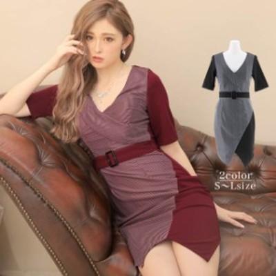 キャバ ドレス ピン ストライプ柄 カシュクール ベルト デザインタイト ミニ ドレス | ドレス キャバ キャバドレス 大きいサイズ ドレス