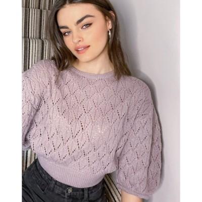 ネイティブユース レディース ニット・セーター アウター Native Youth puff sleeve crochet sweater in lilac