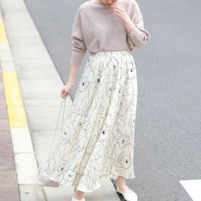 コカ coca グラフィック花柄ロングスカート (White)