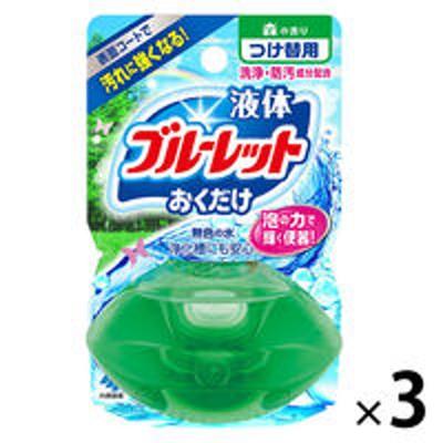 小林製薬液体ブルーレットおくだけ トイレタンク芳香洗浄剤 つけ替え用 森の香り 70ml 1セット(3個)小林製薬
