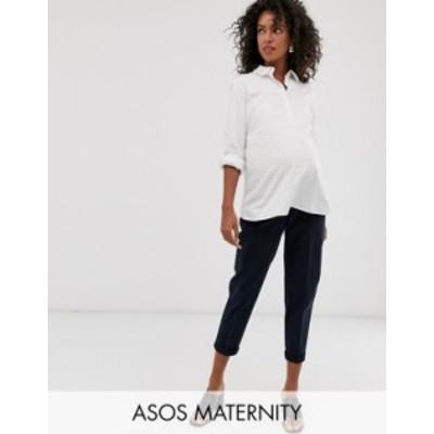 エイソス レディース カジュアルパンツ ボトムス ASOS DESIGN Maternity chino pants with under band Navy