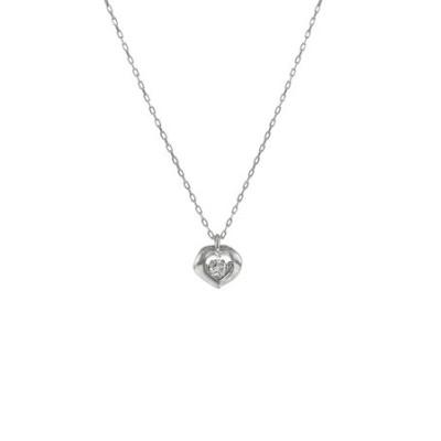K18 ホワイトゴールド ダイヤモンド ハート ネックレス