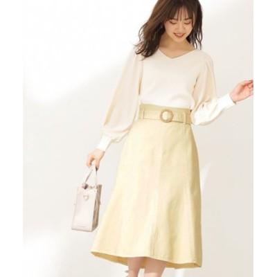 <ピスタチオ・WEB限定カラー>カラーマーメイドフレアスカート