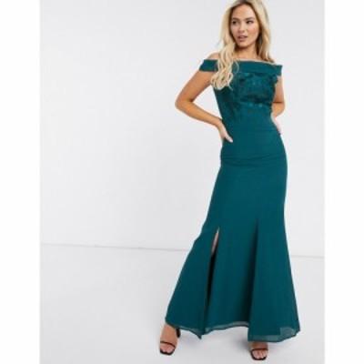 チチロンドン Chi Chi London レディース ワンピース マキシ丈 ワンピース・ドレス Bardot Split Hem Maxi Dress ティール