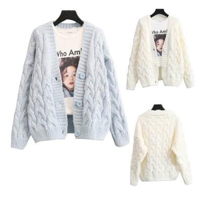 ケーブル編み ニット カーディガン レディース アウター 羽織り 長袖 ざっくり 可愛い  送料無料
