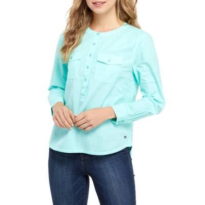 クラウン&アイビー レディース シャツ トップス Petite Long Sleeve Popover Shirt