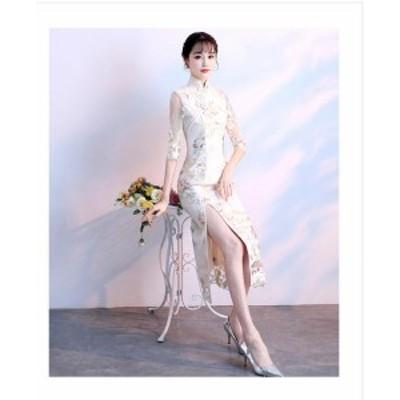 Aラインドレス半袖魅力 花柄刺繍 森ガール Aラインおしゃれ フォーマル お呼ばれ ひざ丈ワンピース スリムロングドレス