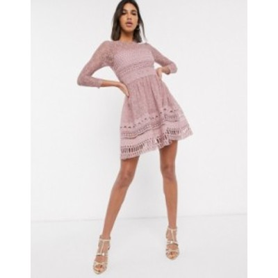 エイソス レディース ワンピース トップス ASOS DESIGN Premium lace mini skater dress in mink Mink