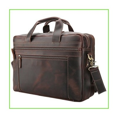 Polare Men's Full Grain Leather 17'' Briefcase Laptop Business Bag with YKK Metal Zippers【並行輸入】【新品】