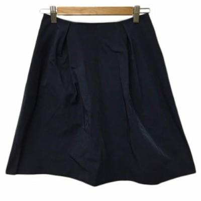 【中古】スピック&スパン ノーブル Spick&Span Noble スカート フレア ミニ タック 紺 ネイビー レディース