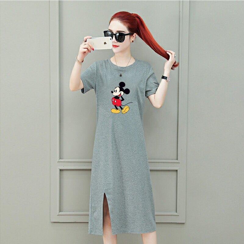 官圖短袖連衣裙原版不偷尺寸寬鬆180克雙磨中長款過膝打底T恤裙子