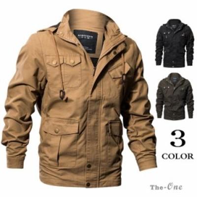 ミリタリージャケット メンズ ジャケット フライトジャケット ブルゾン フード付き メンズ服 アウター ファッション 50代