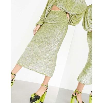エイソス ASOS EDITION レディース ひざ丈スカート スカート midi skirt with thigh split in sequin drench ピスタチオ