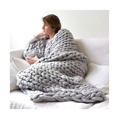YXYH Handmade Chunky Knit Blanket Soft Knitting Throw Bed Rug Bulky Sofa Pet Mat Blanket Bedroom Decor Blankets Made (Color : Gray, Size : 127x152cm)