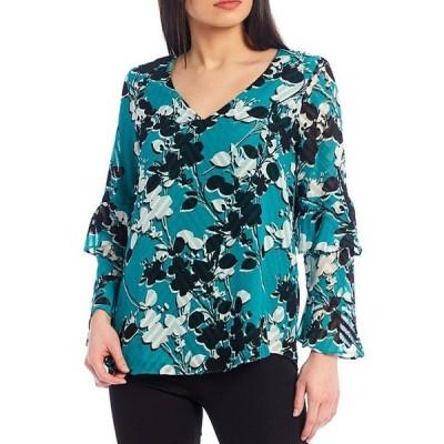 カルバンクライン レディース シャツ トップス Floral Print Clip Jacquard Chiffon V-Neck Long Tiered Ruffle-Sleeve Top
