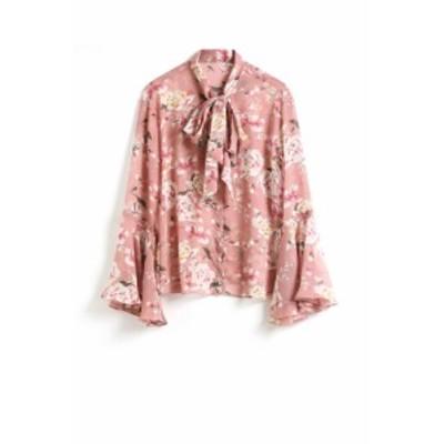 【新品】 レディース上着 シャツ ブラウス カワイイ 花柄 ピンク系、グリーン系(選択可能) 薄手 リボン H103
