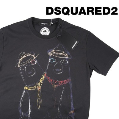 DSQUARED2(ディースクエアード) Uネック半袖Tシャツ S74GD0335 ブラック L 20351 【S20352】