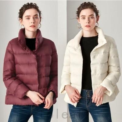 レディースホワイトダークダウン軽量ジャケットジャケットアウター無地ショート丈可愛い冬ファッション