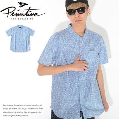 PRIMITIVE プリミティブ 半袖シャツ 総柄 ネイティブ柄 左胸ポケット  セール