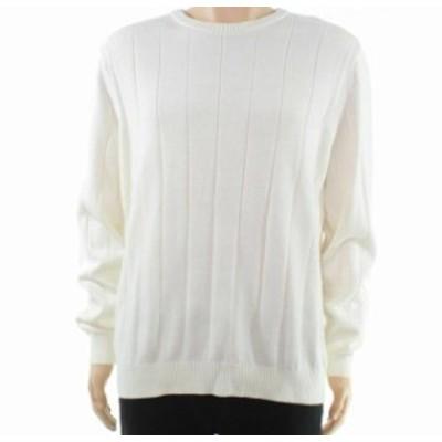 ファッション トップス Club Room Mens Sweater White Ivory Size 2XL Pullover Knit Crewneck