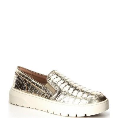 バイオニック レディース スニーカー シューズ Dinoracroc Croc Embossed Leather Slip-On Sneakers Gold